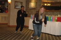 Nadia and Lydia performing a skit