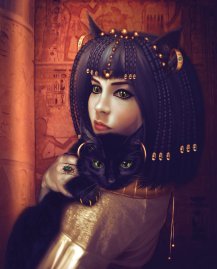 Bastet, was the Egyptian cat goddess. She was known to give protection against contagious diseases and evil spirits.